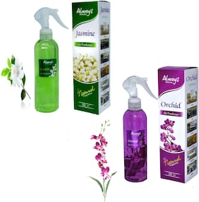 Always Perfumes Jasmine -250ml & Orchid Natural-250ml Fragrance Air Freshener (Pack of 2 )