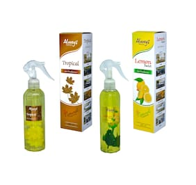 Always Perfumes Tropical & Lemon Twist Air Freshener Natural Fragrance Combo For Home, Car, Offices, Hospital, Shops, Restaurants, Bar & Curtains 250ml (Pack of 2)