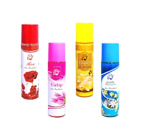 Always Perfumes Air Freshener Rose/Tropical/Tulip/Vanila&Jasmine 250ml (Pack of 4)