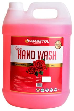 Ambetol Liquid Handwash With Moisturizer Enriched with the Goodness of Rose-5 L (Pack Of 1)