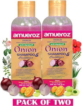Amueroz Red Onion Shampoo for Anti Dandruff/Control Hair fall & Promotes Hair Growth for Men & Women - 200 ml (Pack of 2)