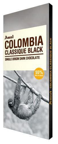 Amul Colombia Classique Black  Single Origin Dark Chocolate 55% Dark 125 Gm
