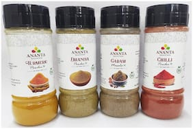 Ananta Spices & Herbs Combo of Haldi/Dhania/Chilli Powder & Garam Masala 100g Each (Pack of 4)