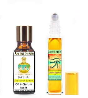 Ancient Flower  Katha  Tea Tree and Lemon Oil In Serum (Night) (5 ml) & Under Eye Oil (8 ml) Pack Of 2