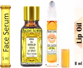 Ancient Flower  Oil Is Gold  Argan All Night Face Serum  5 ml & Oil Juice Lip Oil  8 ml (Pack Of 2)