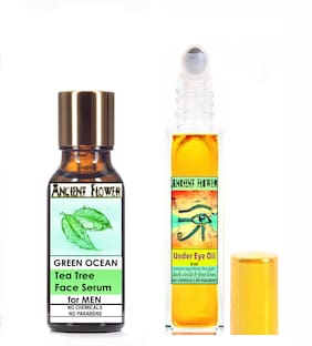 Ancient Flower  Green Ocean  Tea Tree Face Serum For Men (5 ml) & Under Eye Oil (8 ml) Pack Of 2