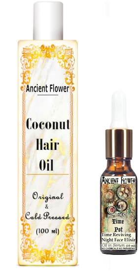 Ancient Flower - Coconut hair Oil - 100 ml & Time Pot - 10ml Serum (Pack Of 2)