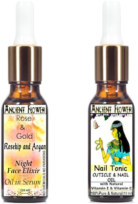 Ancient Flower - Rose and Gold - Rosehip and Argan Night Face Oil in Serum (10ml)/Nail Tonic Cuticle and Nail Care Oil (10ml) (Pack of 2)