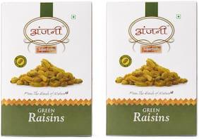 ANJANI SUPERFOODS Plain Green Raisin In Box, 200g (Pack Of 2) (100g Each)
