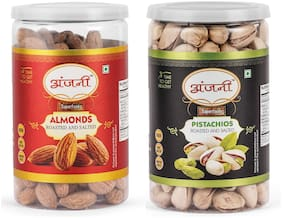 ANJANI SUPERFOODS Roasted & Salted Almonds And Roasted & Salted Pistachio In Jar, 400g (Pack Of 2) (200g Each)