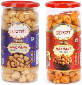 ANJANI SUPERFOODS Roasted Makhana In Olive Oil Khatta Meetha And Peri Peri Foxnuts, 200g (100g Each In Jar)