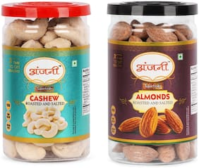 ANJANI SUPERFOODS Roasted & Salted Cashew And Roasted & Salted Almonds In Jar, 200g (Pack Of 2) (100g Each)