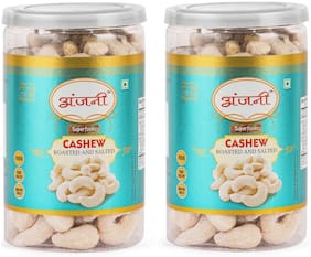 ANJANI SUPERFOODS Roasted & Salted Cashew In Jar, 400g (Pack Of 2) (200g Each)