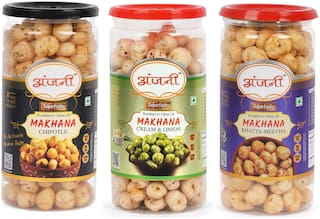 ANJANI SUPERFOODS Roasted Makhana In Olive Oil Chipotle  Cream Onion And Khatta Meetha Foxnuts  300g (100g Each In Jar)