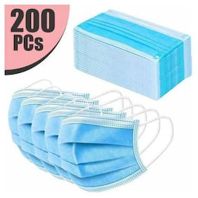 Apollo Anti Virus Breathable Face Mask 3 Layer Mask Disposable Face Masks (Pack of 200) blue Surgical Mask