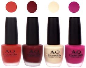 AQ Fashion Velvet Matte Nail Polish Combo Set 48ml Pack of 4