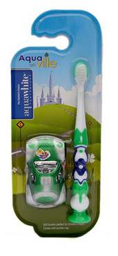 aquawhite aquaville Toothbrush with car toy for kids, Soft Bristles. Green, Health & Personal Care