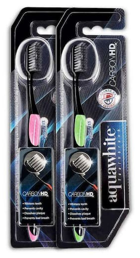 aquawhite Carbon HD Toothbrush , Carbon Infused Bristles, Health & Personal Care,color may vary ( pack of 2 )