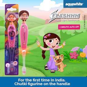 AquaWhite CHUTKI Buddy Best Figurine Timer Flash Light Kids Toothbrush,pink For Age 3 - 14 Years,(Waterproof & Inbuilt Battery),Health & Personal Care