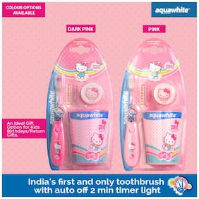 Aquawhite Kids Hello Kitty Flashh Toothbrush With Rinsing Cup Buy 1 Get 1 Free (Pack Of 1)
