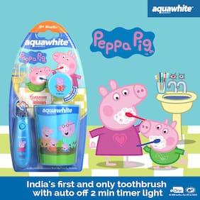 Aquawhite Kids Peppa Pig Flash Toothbrush with Rinsing Cup (Blue)