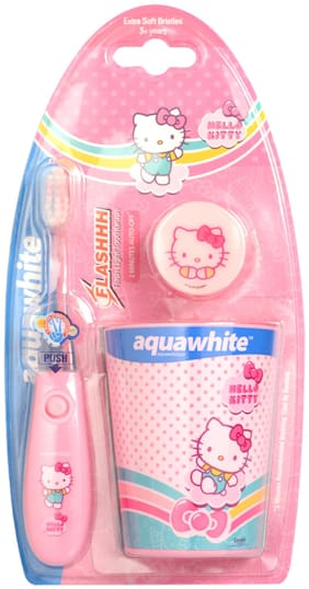 Aquawhite Kids Hello Kitty Flashh Toothbrush with Rinsing Cup (Baby Pink)