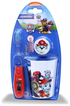 aquawhite PAW PATROL Flash Toothbrush Set 1pcs 3, Kids Timer Flashlight Toothbrush Red (Waterproof, Shockproof with non-replaceable in-built Battery) with Rinsing Cup