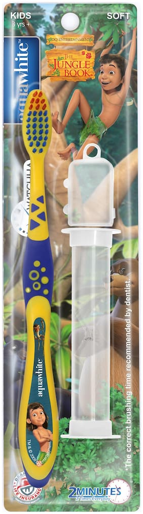 AquaWhite THE JUNGLE BOOK Watchha Toothbrush with 2 Minute Sand Timer & Hygiene Cap,yellow Health & Personal Care.