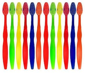 aquawhite ToothBrush Smart Clean, Medium Bristles, Pack Of 12. (Colour may vary), Health & Personal Care
