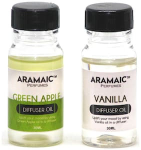 Aramaic Combo Diffuser Oil Green Apple Vanilla  Aroma Oil Refill-Pack of 2