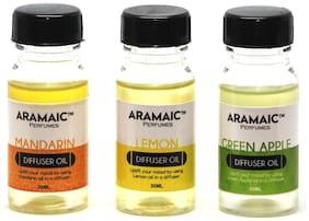 Aramaic Combo Diffuser Oil Green Apple Mandarin Lemon  Aroma Oil Refill-Pack of 3