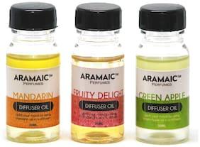 Aramaic Combo Diffuser Oil Green Apple Mandarin Fruity Delight  Aroma Oil Refill-Pack of 3