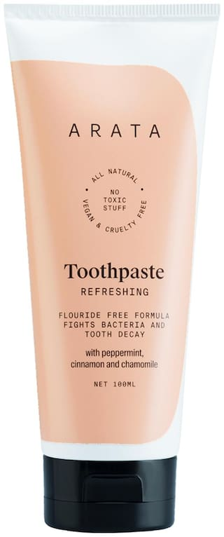 Arata Natural Refreshing Toothpaste With Peppermint Cinnamon & Chamomile Fluoride-Free Formula Fights Bacteria & Tooth Decay - (100 ml)