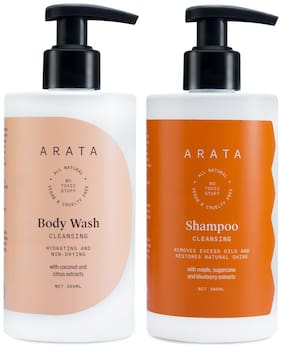 Arata Natural Bath Essentials with Cleansing Shampoo-300ml & Body Wash-300ml Plant Based, Non Toxic Bath & Intensive Nourishment(Pack of 2)