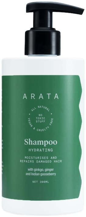 Arata Natural Hydrating Hair Shampoo With Ginkgo, Ginger & Indian Gooseberry Moisturizes & Repairs Damaged Hair - (300 ml)
