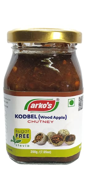 ARKOS Homemade Sugar Free Kodbel (Wood Apple) Chutney,(200g)