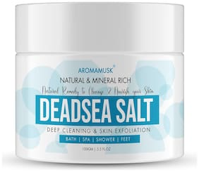 AromaMusk 100% Natural and Mineral Rich Dead Sea Salt For Deep Cleaning & Skin Exfoliation, 100g