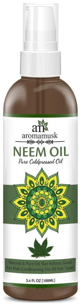 AromaMusk USDA Organic 100% Pure Cold Pressed Neem Oil For Hair  Skin & Nails - Natural Insect Repellent  100ml