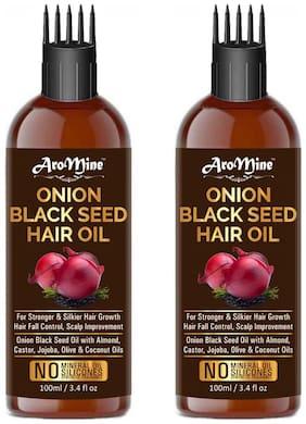 AroMine Onion Black Seed Hair Oil for Hair Growth & Hair Fall Protection 100 ml Each (Pack of 2 )