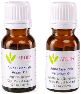 Aruba Essentials Argan  Oil  & Geranium  Oil 100% Undiluted Combo of 15 ml each