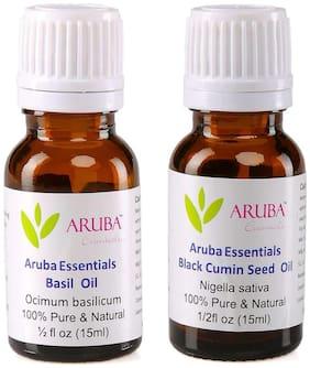Aruba Essentials Basil  Oil & Black Cumin Seed  Oil   100% Undiluted Combo of 15 ml each