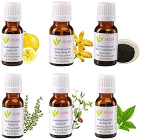 Aruba Essentials 100% Undiluted Pure Essential Oils Eco Oils 15ml Pack Of 6 (for Hair, Skin, Face & Aromatherapy Diffuser)