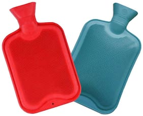 Aryshaa Rubber Bottle Hot Water Bottle Heating Rubber Warm Bag For Pain Relief Assorted Colours (Pack of 2)