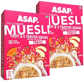 ASAP - Ultimate Breakfast Muesli - Fruitz (Fruits & 5 Toasted Grains) 420g (Pack of 2)