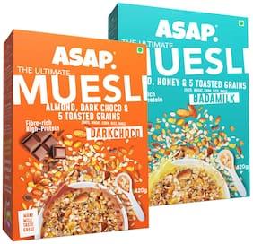 ASAP - Ultimate Breakfast Muesli - Dark Choco (Almonds/Dark Choco & 5 Toasted Grains) -420g + Badamilk(Almonds/Honey & 5 Toasted Grains) -420g (Pack of 2)