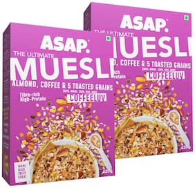 ASAP - Ultimate Breakfast Muesli - Coffeluv (Almonds/Coffee & 5 Toasted Grains) -420g (Pack of 2)