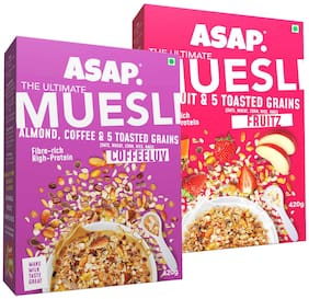 ASAP - Ultimate Breakfast Muesli - Coffeluv (Almonds/Coffee & 5 Toasted Grains) -420g + Fruitz (Fruits & 5 Toasted Grains -420g (Pack of 2)