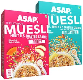 ASAP - Ultimate Breakfast Muesli - Badamilk(Almonds/Honey & 5 Toasted Grains) -420g + Fruitz (Fruits & 5 Toasted Grains -420g (Pack of 2)