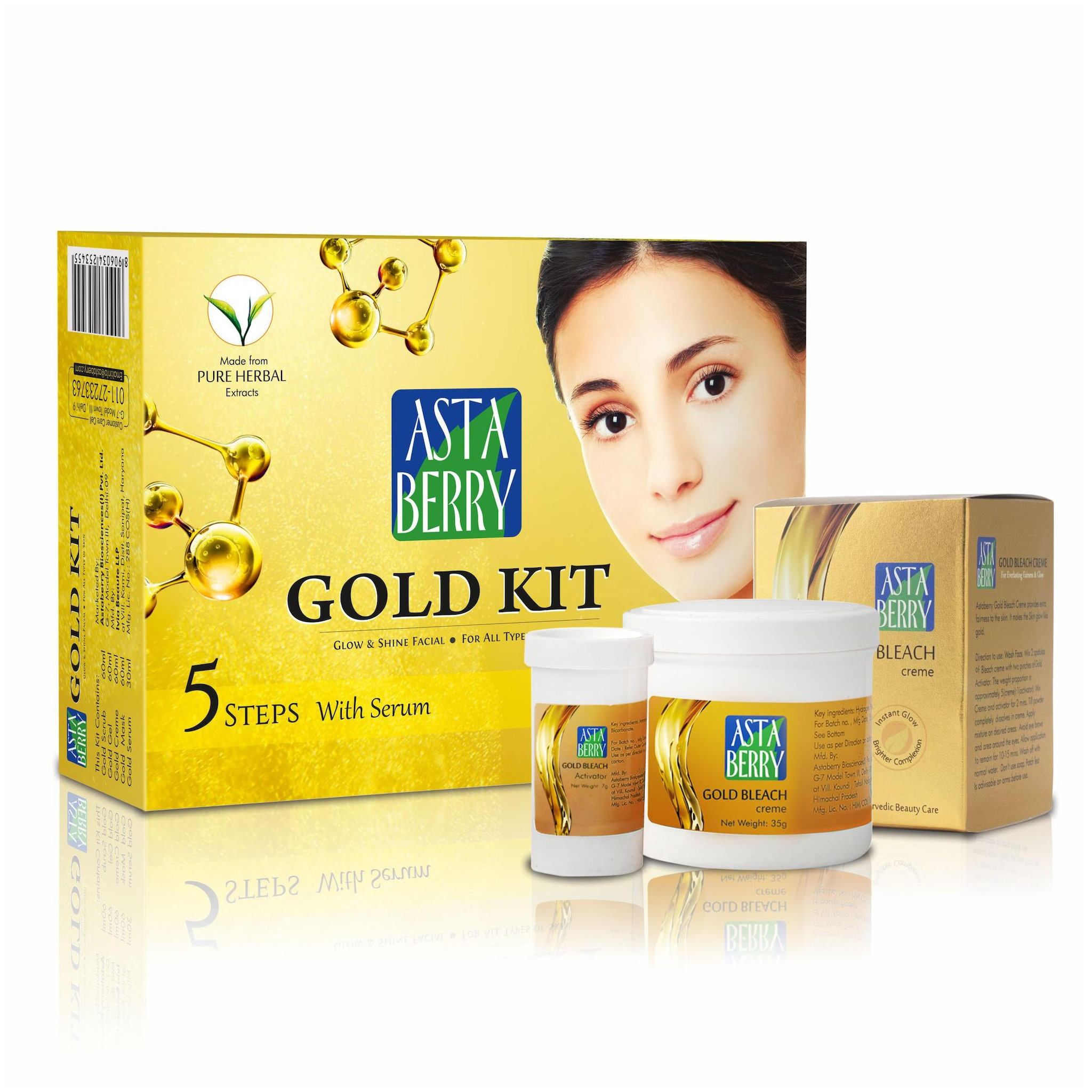 Astaberry Gold Facial Kit 5 Steps 270g With Gold Bleach 42g Skin Brightening