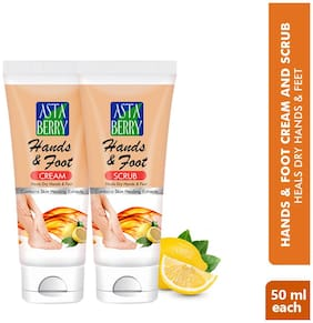 Astaberry Hand & Foot Creme & Scrub  50ml Each(Pack of 2)